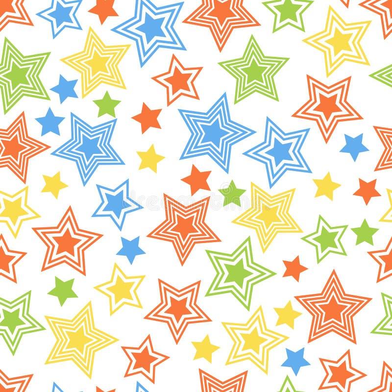 Nahtlose bunte Sternchen-Vereinbarung für Gewebe und Postkarten vektor abbildung