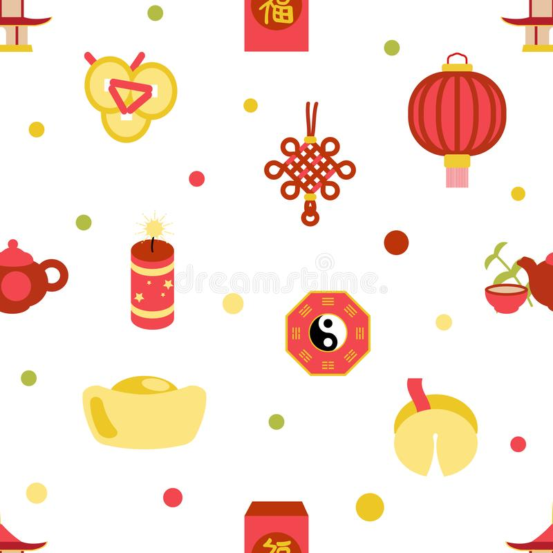 Nahtlose chinesische des Feierparteifeiertagsmusters des neuen Jahres Entwurfs-Vektorillustration flache vektor abbildung
