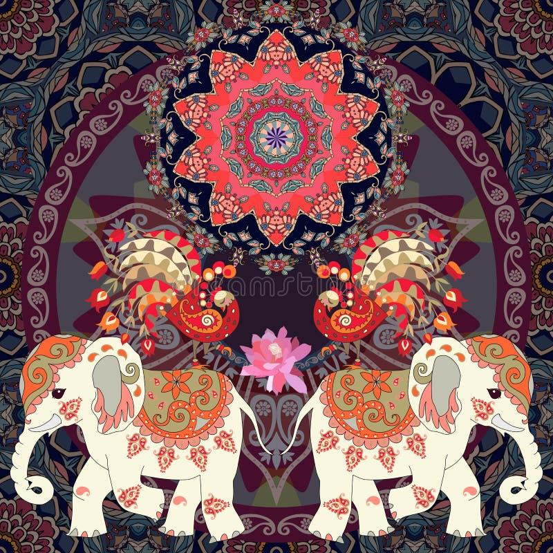 Nahtlose dekorative Muster- oder Quadratgrußkarte in der indischen oder thailändischen Art mit feenhaften Pfaus, nette Elefanten, vektor abbildung