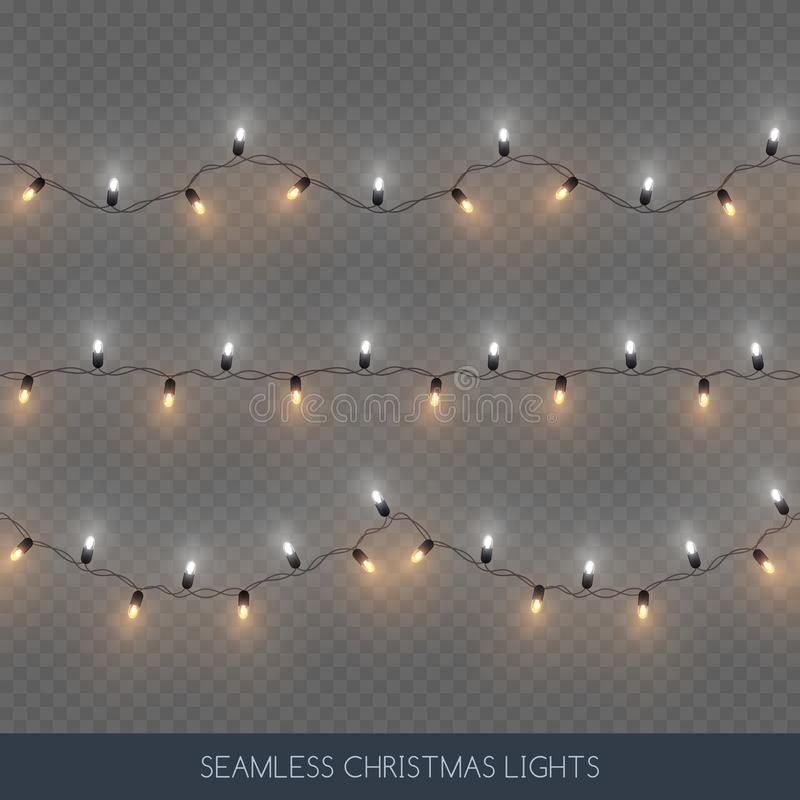 Nahtlose dekorative Splitter- und Goldfarbglühlampegirlanden Satz, Weihnachtsdekoration, Vektorillustration lizenzfreie abbildung