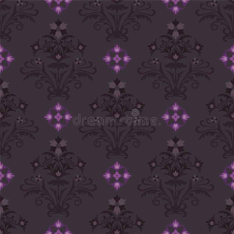 Nahtlose dunkle Blumentapete lizenzfreie abbildung