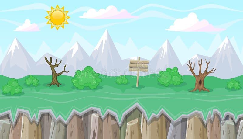 Nahtlose editable Gebirgslandschaft mit trockenen Bäumen für Spieldesign stock abbildung