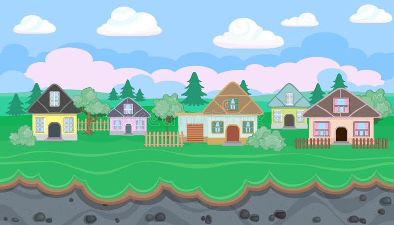 Nahtlose editable Landschaft des Dorfs für Spieldesign lizenzfreie abbildung