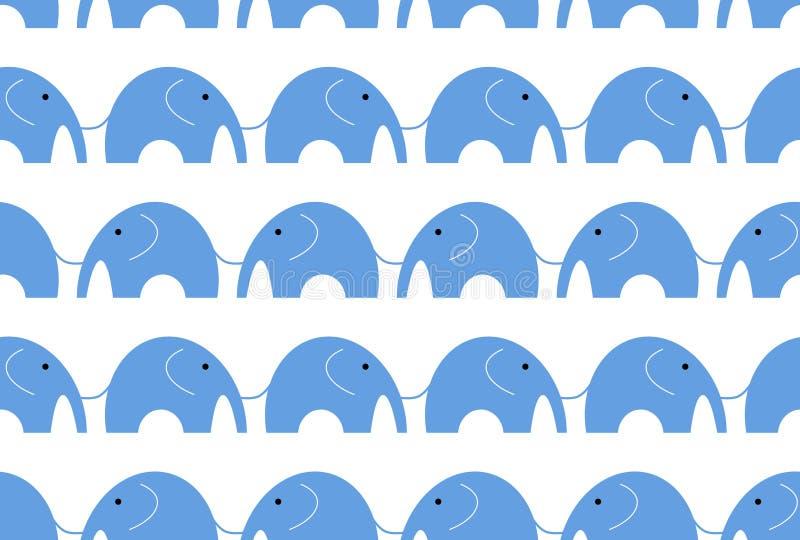 Nahtlose Elefantgraphik ist blaue Farbe auf weißem Hintergrund Blaues Elefantmuster nahtlos stock abbildung