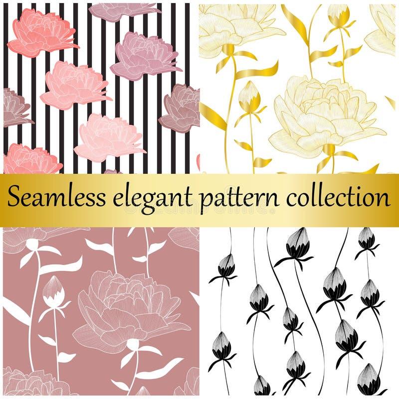 Nahtlose elegante Sammlung des Vektors Goldene und Blumenhandgezogene Beschaffenheiten, Drucke, Hintergründe vektor abbildung