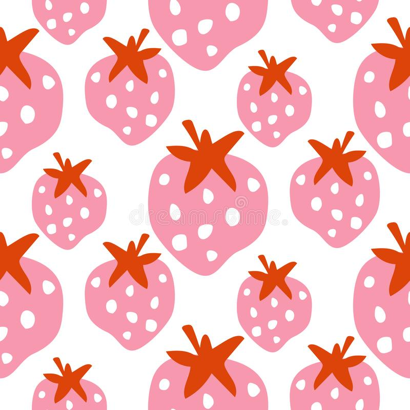Nahtlose Erdbeermusterbeschaffenheit mit mutigem rosa Beerenvektor stock abbildung