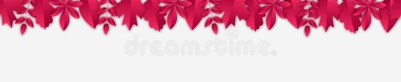 Nahtlose Fahne mit Burgunder-Herbstlaub in der geschnittenen Papierart stock abbildung