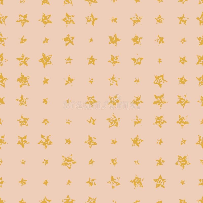 Nahtlose gealterte goldene Sterne auf weichem rosa Hintergrund lizenzfreie abbildung