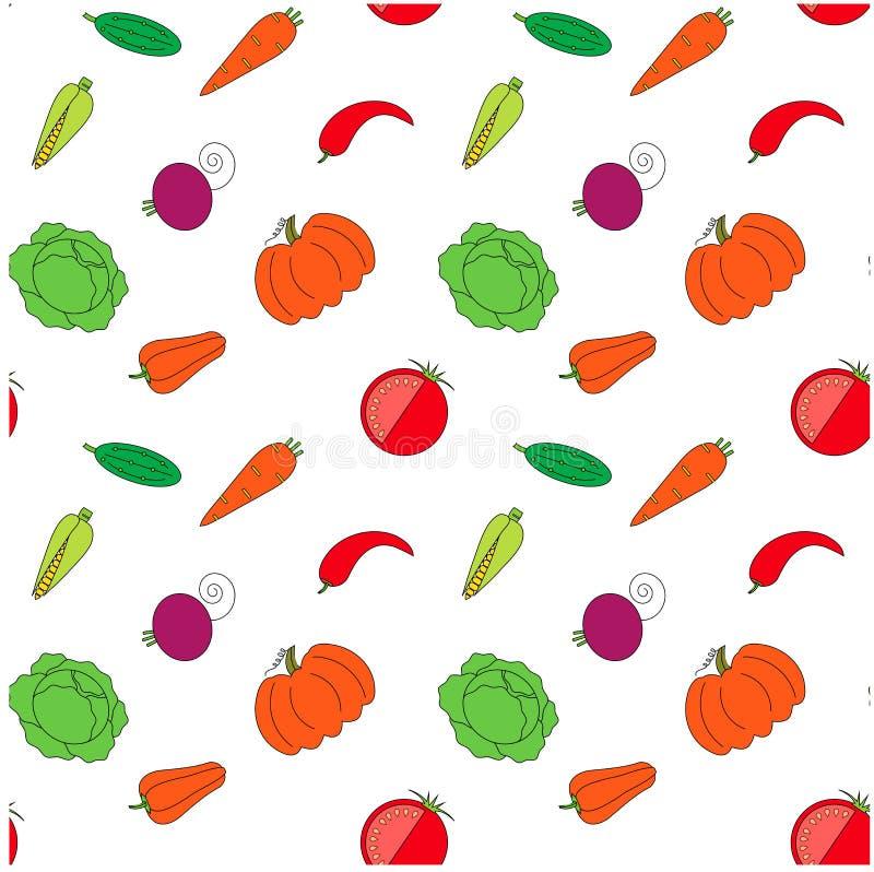 Nahtlose Gemüsemustervorrat-Vektorillustration Orange Kürbis des modernen flachen Designs, Karotte, rote rote Rübe vektor abbildung