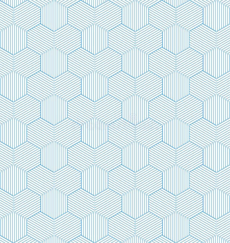 Nahtlose geometrische blaue gestreifte Hexagone kopieren Hintergrund vektor abbildung