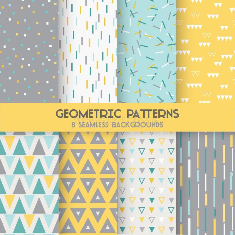 8 nahtlose geometrische Muster vektor abbildung