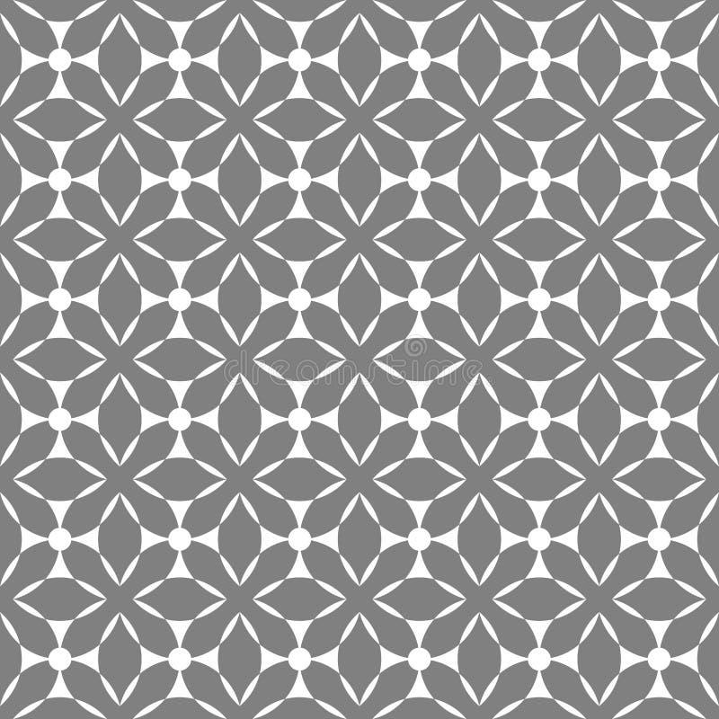 Nahtlose geometrische Mustervektorzusammenfassungshintergrund-Designkunst mit ethnischen Verzierungen und Formen grau und weiß lizenzfreie abbildung
