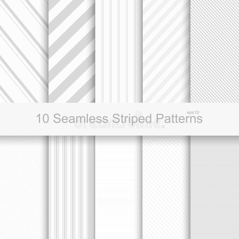 10 nahtlose gestreifte Muster lizenzfreie abbildung