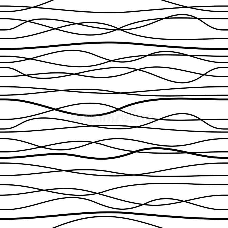 Nahtlose gewellte Linie Muster des schwarzen Vektors lokalisierte lizenzfreie abbildung