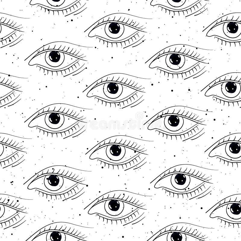 Nahtlose gezeichnete Augen des Musters Hand stock abbildung