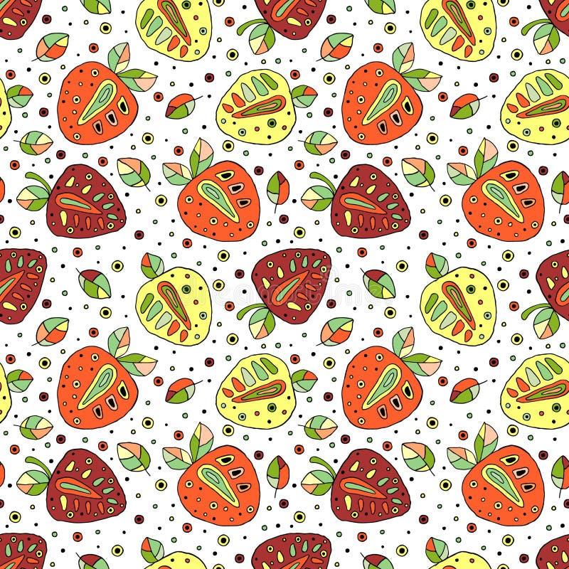 Nahtlose gezeichnetes kindisches Muster des Vektors Hand mit Früchten Nette kindliche Erdbeeren mit Blättern, Samen, Tropfen Gekr vektor abbildung