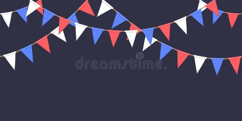 Nahtlose Girlande mit Dreieckfeier kennzeichnet Kette, Weiß, Blau, rote Pennons auf dunklen Hintergrund-, Seitenende- und Fahnenf lizenzfreie abbildung