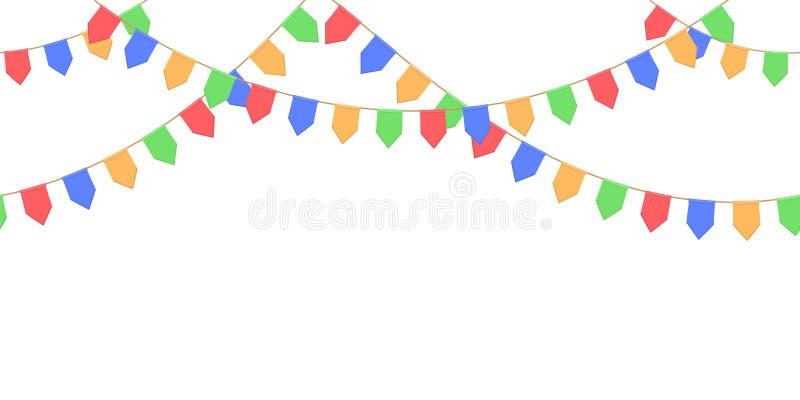 Nahtlose Girlande mit Feier kennzeichnet Kette, Gelb, Blau, Rot, grüne Pennons auf weißem Hintergrund, Seitenende und Fahne lizenzfreie abbildung