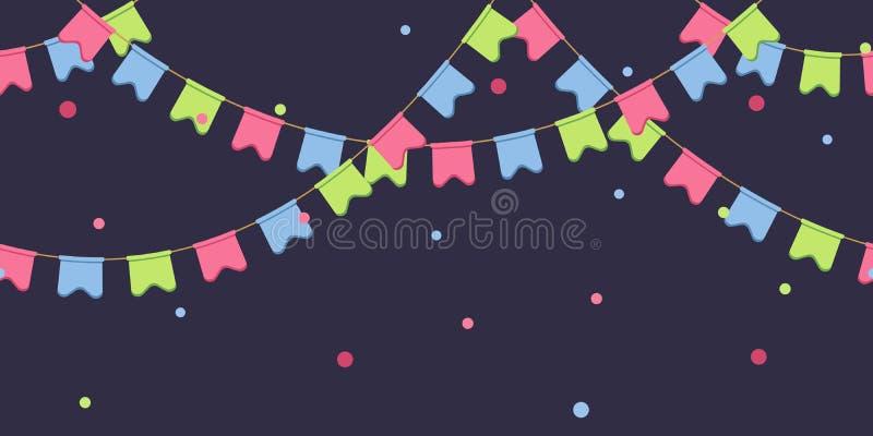 Nahtlose Girlande mit Feier kennzeichnet Kette, Rosa, Blau, grüne Pennons mit Konfettis auf dunklem Hintergrund, Seitenende und vektor abbildung