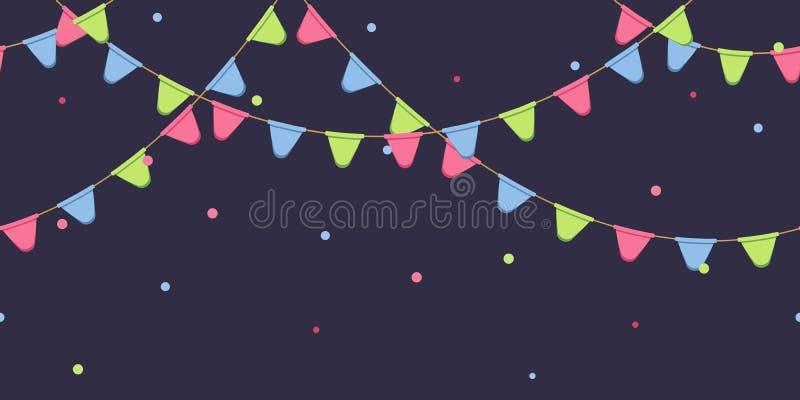 Nahtlose Girlande mit Feier kennzeichnet Kette, Rosa, Blau, grüne Pennons mit Konfettis auf dunklem Hintergrund, Seitenende und F lizenzfreie abbildung