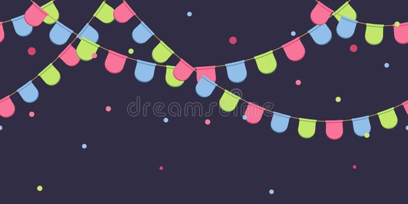 Nahtlose Girlande mit Feier kennzeichnet Kette, Rosa, Blau, grüne Pennons mit Konfettis auf dunklem Hintergrund, Seitenende und F stock abbildung