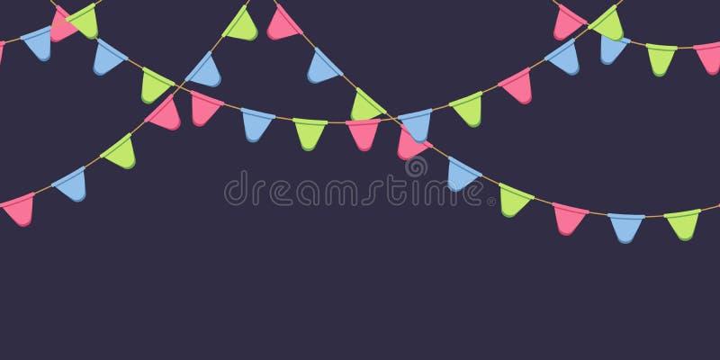 Nahtlose Girlande mit Feier kennzeichnet Kette, Rosa, Blau, grünt gerundete Pennons auf dunklem Hintergrund, Seitenende und Fahne stock abbildung