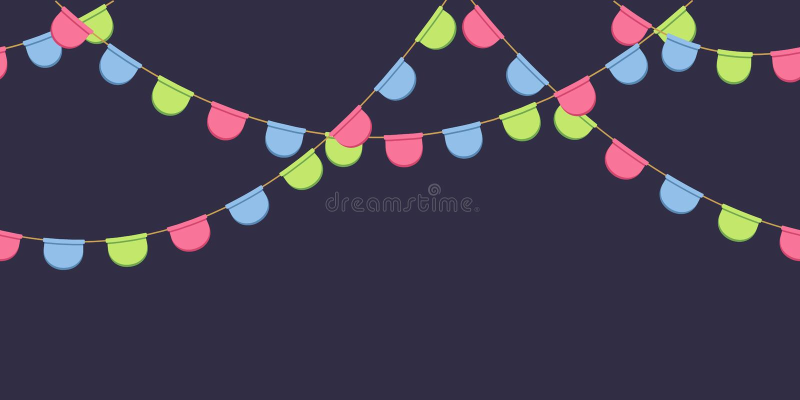 Nahtlose Girlande mit Feier kennzeichnet Kette, Rosa, Blau, grünt gerundete Pennons auf dunklem Hintergrund, Seitenende und Fahne lizenzfreie abbildung
