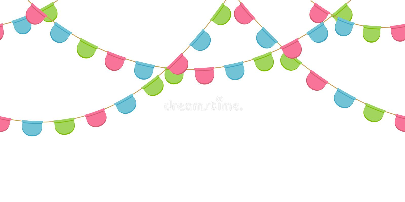 Nahtlose Girlande mit Feier kennzeichnet Kette, Rosa, Blau, grünt gerundete Pennons ohne Hintergrund, Seitenende und Fahne vektor abbildung