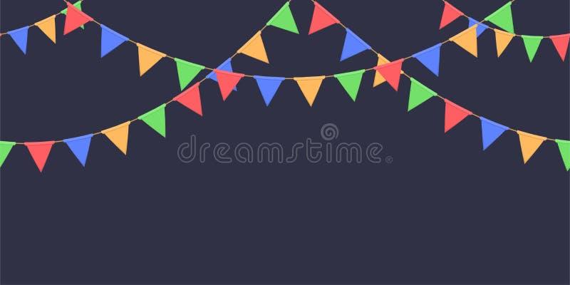 Nahtlose Girlande mit Feier kennzeichnet Kette, Rot, Blau, Grün, gelbe Pennons auf dunklem Hintergrund, Seitenende und Fahne vektor abbildung