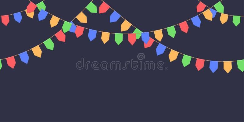 Nahtlose Girlande mit Feier kennzeichnet Kette, Rot, Blau, Grün, gelbe Pennons auf dunklem Hintergrund, Seitenende und Fahne für  stock abbildung
