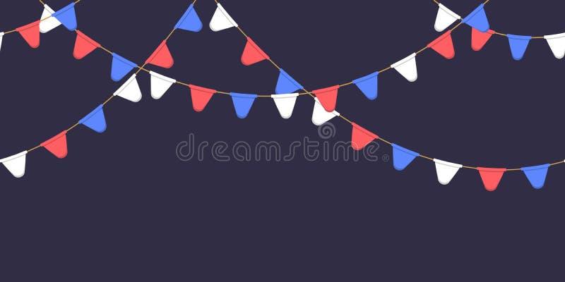 Nahtlose Girlande mit Feier kennzeichnet Kette, Weiß, Blau, rote Pennons auf dunklem Hintergrund, Seitenende und Fahne für Dekora vektor abbildung