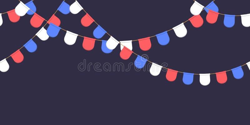 Nahtlose Girlande mit Feier kennzeichnet Kette, Weiß, Blau, rote Pennons auf dunklem Hintergrund, Seitenende und Fahne für Dekora lizenzfreie abbildung