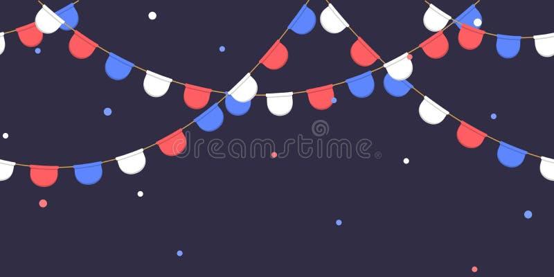 Nahtlose Girlande mit Feier kennzeichnet Kette, Weiß, Blau, rote Pennons mit Konfettis auf dunklem Hintergrund, Seitenende und Fa vektor abbildung