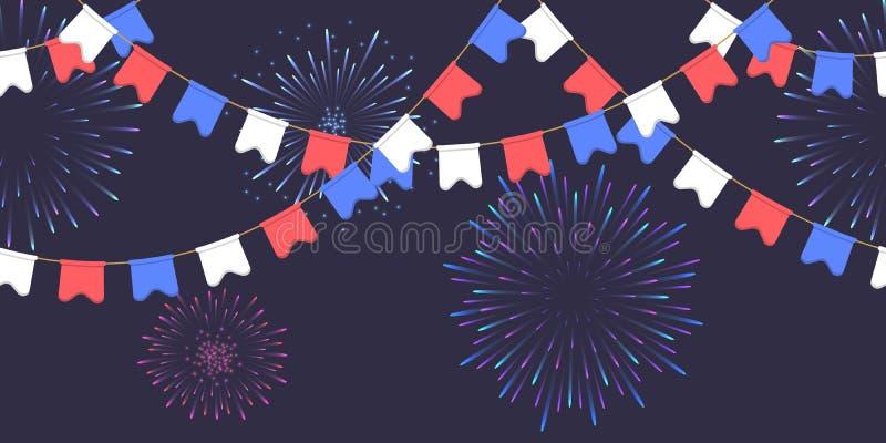 Nahtlose Girlande mit Feier kennzeichnet Kette, Weiß, Blau, rote Pennons und Gruß auf dunklen Hintergrund-, Seitenende- und Fahne lizenzfreie abbildung