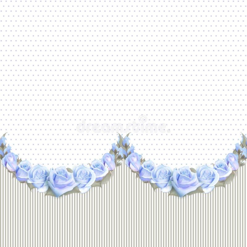 Nahtlose Girlanden von Rosen auf einem Weinlese gestreiften ond punktierten Hintergrund Vektorblumengrenze, endlos horizontal stock abbildung