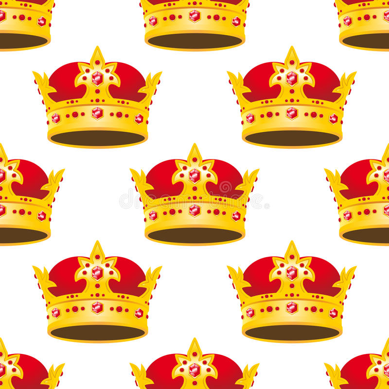 Nahtlose goldene Kronen mit Edelsteinmuster stock abbildung