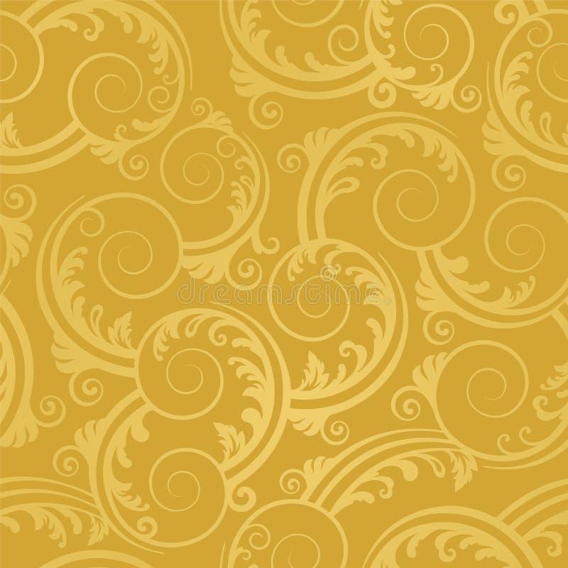 Nahtlose goldene Strudel- und Blatttapete vektor abbildung