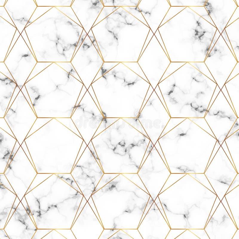 Nahtlose Goldlinie geometrisches modernes Muster Hintergrund mit Raute, Dreiecken und Knoten Goldene Beschaffenheit Modernes unbe lizenzfreie abbildung