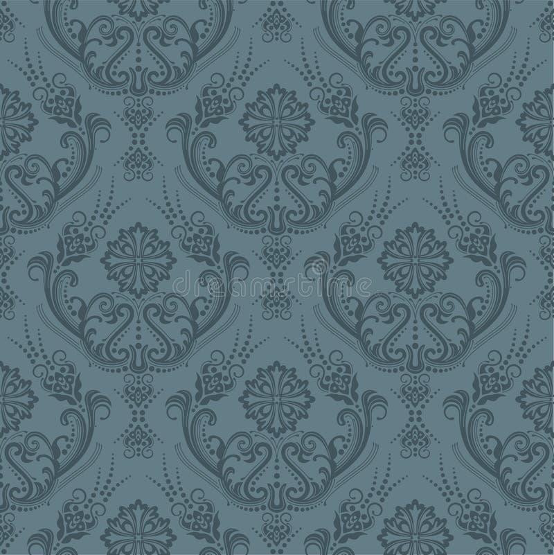 Nahtlose graue Blumenluxuxtapete stock abbildung