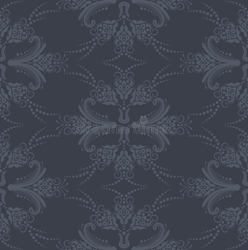 Nahtlose graue Blumenluxuxtapete lizenzfreie abbildung