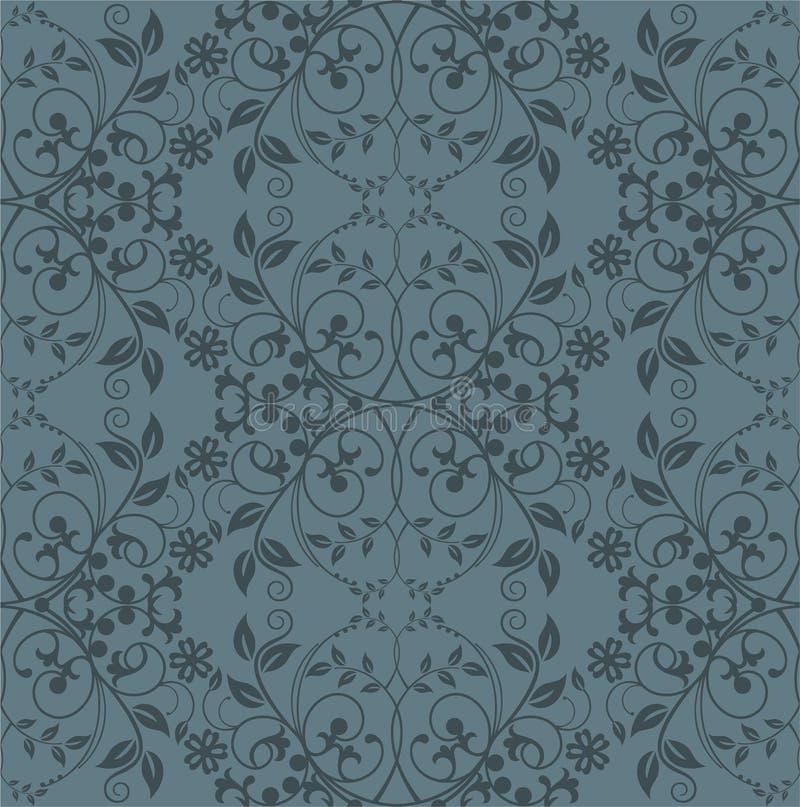 Nahtlose graue Blumentapete lizenzfreie abbildung
