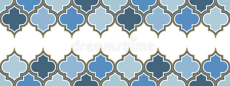 Nahtlose Grenze der horizontalen Wiederholung des Vektors zwei marokkanischen Hellblau, Goldbeige Linie auf weißem Hintergrund lizenzfreie abbildung
