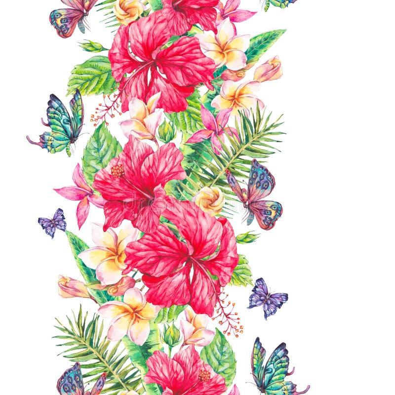 Nahtlose Grenze der tropischen Blumen des Aquarells vektor abbildung