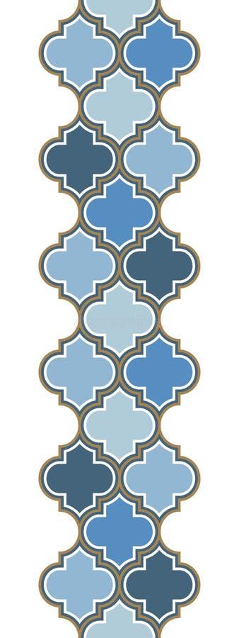 Nahtlose Grenze der vertikalen Wiederholung des Vektors marokkanischen Hellblau, Goldbeige Linie auf weißem Hintergrund vektor abbildung