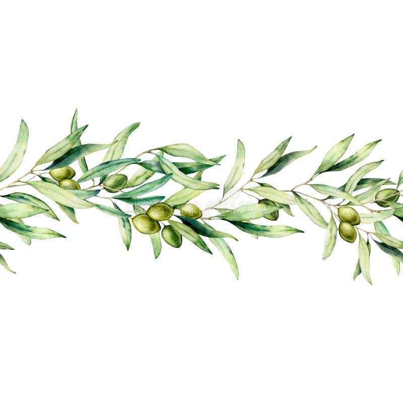 Nahtlose Grenze des Aquarells mit olivgrünem Baumast, grüner Olive und Blättern Handgemalte Blumenillustration an lokalisiert stock abbildung