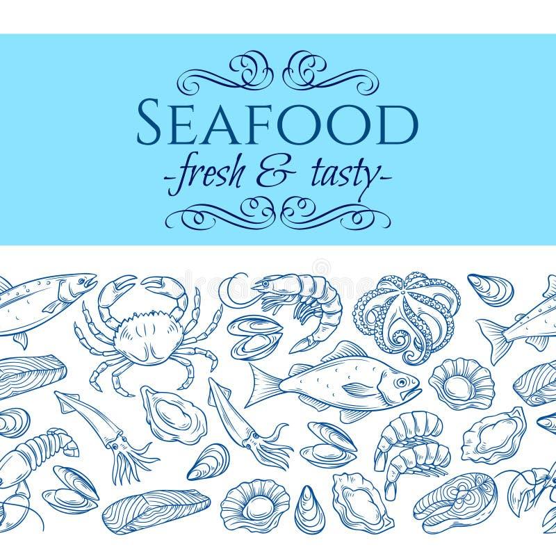 Nahtlose Grenze mit Meeresfrüchten lizenzfreie abbildung