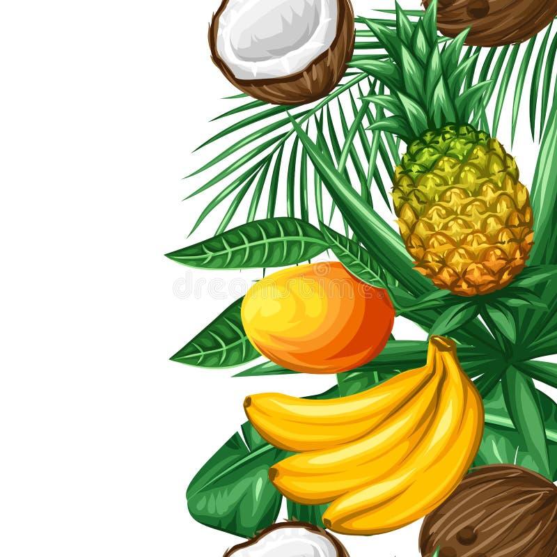 Nahtlose Grenze mit tropischen Früchten und Blättern Hintergrund gemacht ohne Abschneidenmaske Bedienungsfreundlich für Hintergru stock abbildung