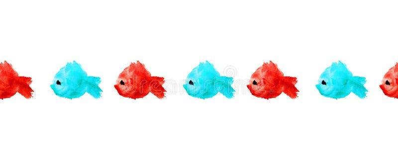 Nahtlose Grenze oder Rahmen von bunten Aquarellschattenbildfischen als Flecken, Flecken, Tupfen auf weißem Hintergrund Blau und R lizenzfreie abbildung