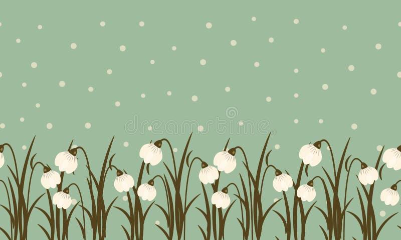 Nahtlose Grenze vom Schneeglöckchen und Schnee auf Grünblauhintergrund für den Tag der internationalen Frauen am 8. März Nette Fr stock abbildung