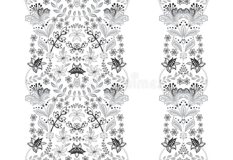 Nahtlose Grenzen des Blumensatzes für Ihren Entwurf Auch im corel abgehobenen Betrag stock abbildung
